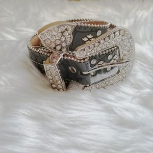 Accessories - Gray Leather Belt With Studs and Rhinestones